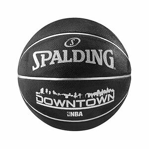 Spalding-Downtown-Outdoor-Basketball-Size-7-Adult-BLACK-Basket-Ball-Inflated