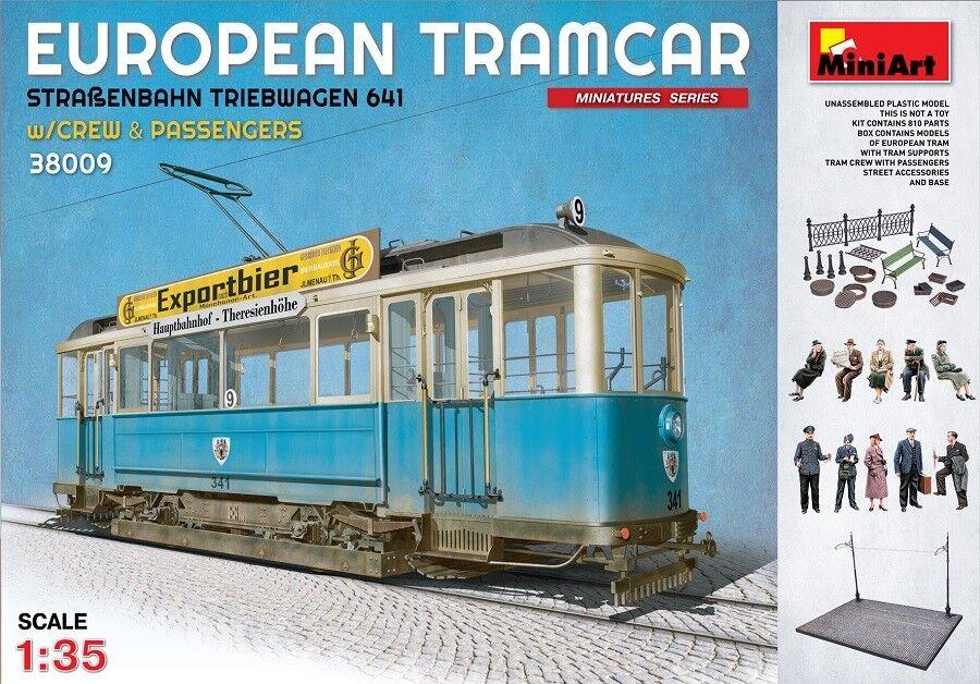 Miniart 38009 - 1/35 Europeo Tramcar con Equipaggio And Passengers - Nuovo