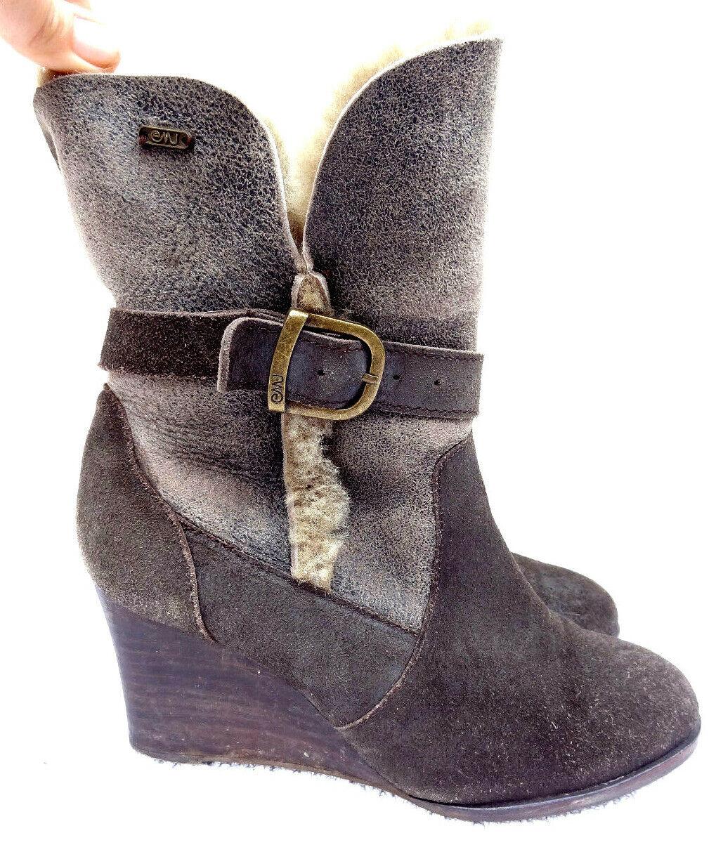 EMU Suede Sheepskin Lined wedge heel ankle Slouch Stiefel grau 6 - 39