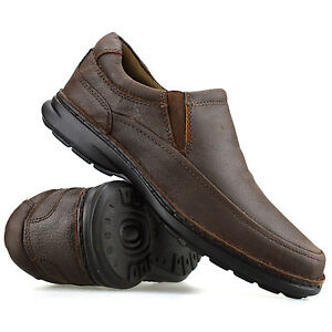 mens leather casual smart slip on moccasin loafers walking