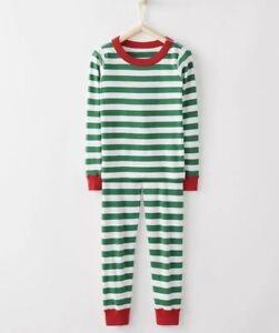 Hanna Andersson 140 150 Boys Pajamas 10 12 Long John Organic NEW Stripes Green