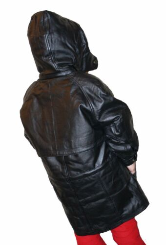 BLACK SILKY GENUINE SOFT NAPA LEATHER CHILDREN COAT JACKET WITH ZIP OUT LINING