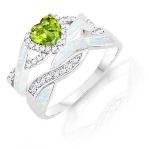 Peridot Heart Infinity Celtic White Opal W Cz Engagement Silver Ring