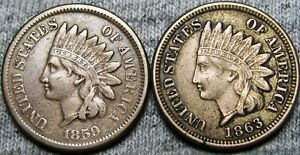 1859-1863-Indian-Cent-Penny-Type-Coin-Q821