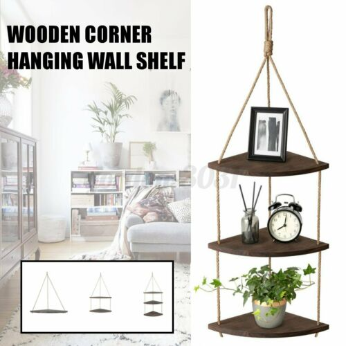 Wooden Rope Hanging Corner Wall Shelf Vintage Storage Organizer Rack Home UK