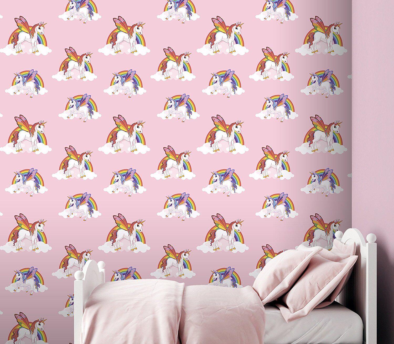 Rainbow Unicorn Wallpaper Girls Pink Pony Bright Kids Feature Wall 6303
