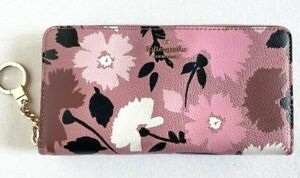 New Kate Spade Neda Briar Lane Gala Floral zip around wallet Leather Pink multi