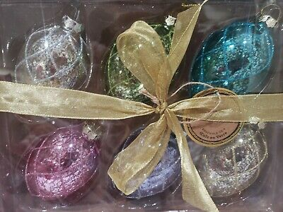 """NICOLE MILLER CRACKLE GLASS EGGS SHAPED 4/"""" EASTER ORNAMENTS SET OF 6"""