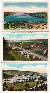 3-WATKINS-GLEN-New-York-c1930-POSTCARDS-Springs-SENECA-LAKE-Birds-Eye-View