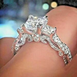 2-25-Ct-Princess-Cut-Diamond-Solid-14k-Real-White-Gold-3-Stone-Engagement-Ring