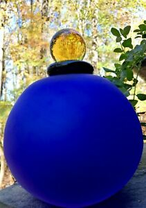 Vintage-Satin-Art-Glass-Cobalt-Blue-Perfume-Bottle-Decanter-w-Amber-Dauber