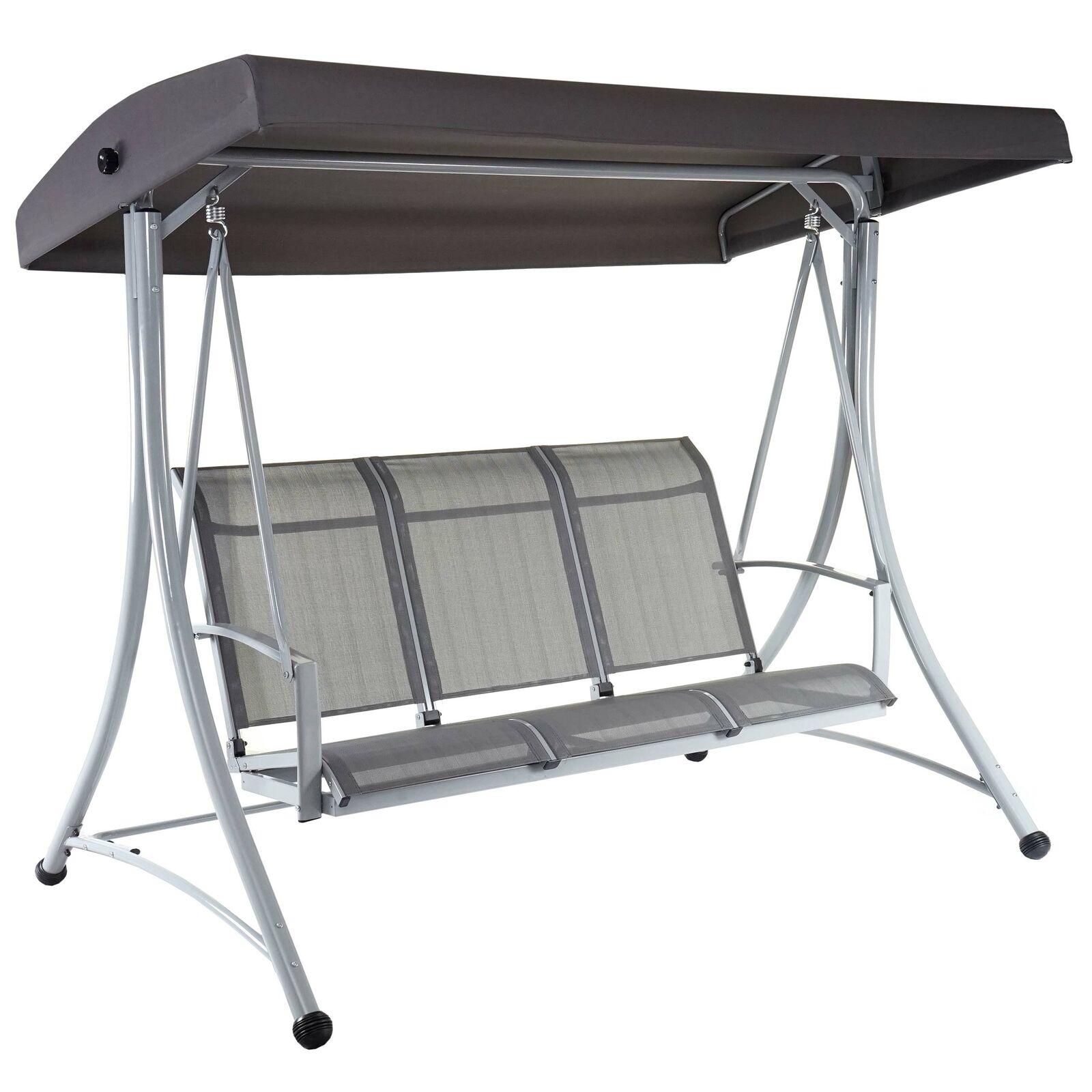 Hamaca de Hollywood MCW-D62, 3-Sitzer Regulable Techo 216x196x130cm gris
