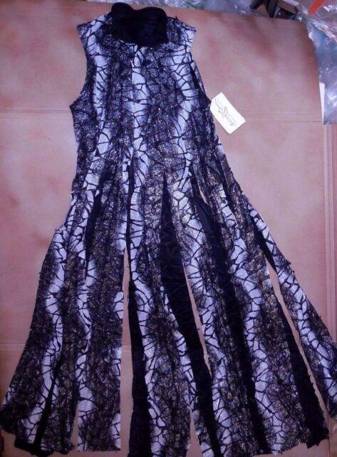 Praisewear Tunic Black Silver Long Flyer Skirt collared snapfront Adlt/Chld
