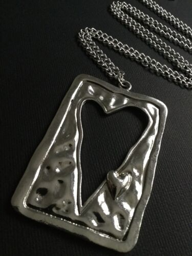 Long Silver Chain Necklace With A Big Hammered Heart Pendant Boho Lagenlook