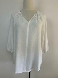 Sussan-Women-039-s-White-Pleated-Boho-Blouse-8-A11-Free-AU-Shipping