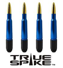 20 VMS RACING 7 INCH 12X1.5 LUG NUTS W/ BLUE GOLD 50 CAL BULLET SPIKES D