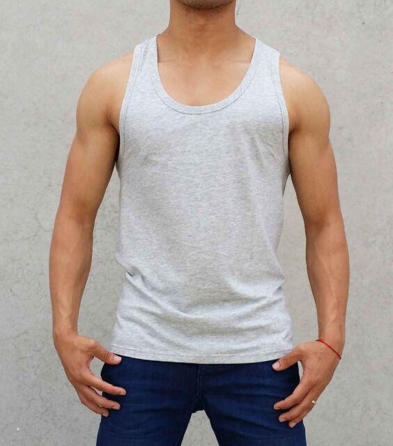 mens PLAIN blank GREY SLIM Singlet TANK TOP fashion gym S - XXL MUSCLE SPORT