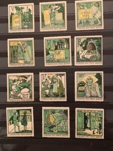 12-POSTER-STAMPS-VIGNETTES-GERMANY-LEIBNITZ-TET-BAHLSEN-COOKIE-from-1913-WITCH