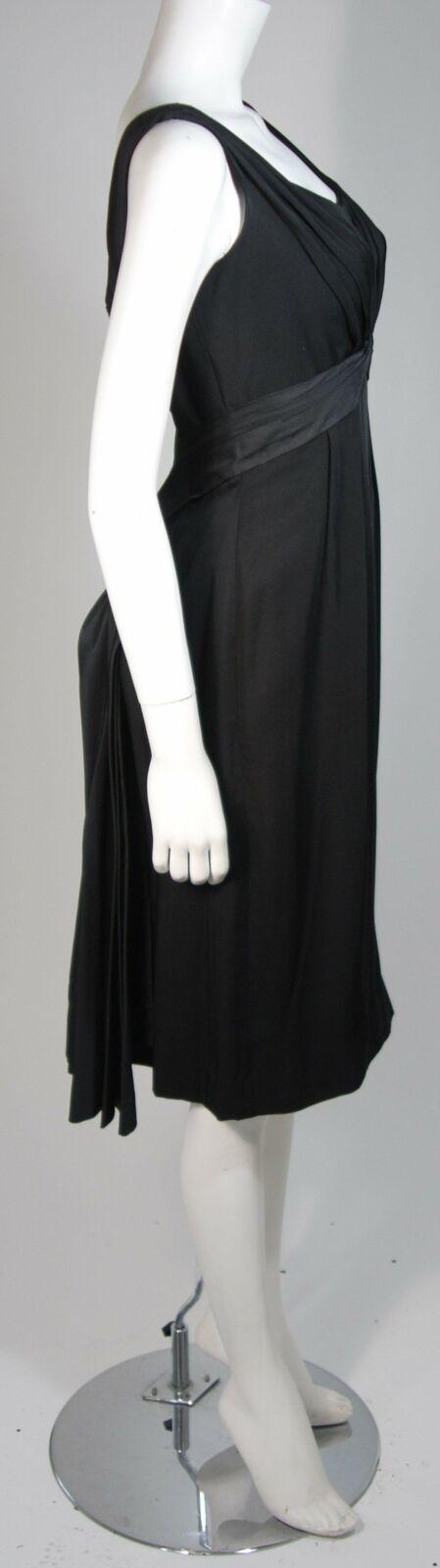 CEIL CHAPMAN 1950s Black Draped Cocktail Dress Si… - image 5