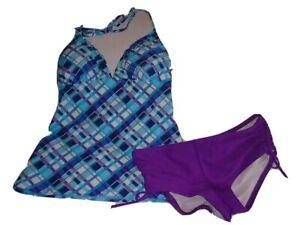 CANDIE-039-S-SWIM-Swimsuit-Youth-Girl-039-s-2-Piece-Blue-Purple-Checkered-Sz-Medium-NWT
