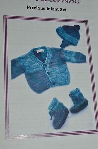 Lorna's Lace Baby Precious Infant Set Hat Sweater Booties  NB to 3 mos