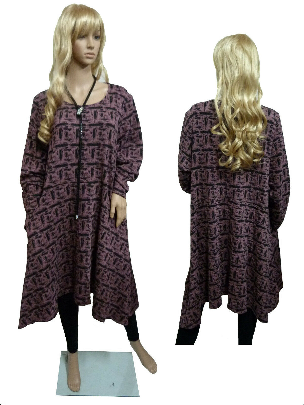 EG 46 48 50 Bella bluee exquisites Kleid Herbst- Winter-Kleid Altpink black
