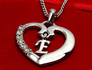 Love heart initial necklace pendant letter e 18k white gold plated love heart initial necklace pendant letter 039 e aloadofball Choice Image