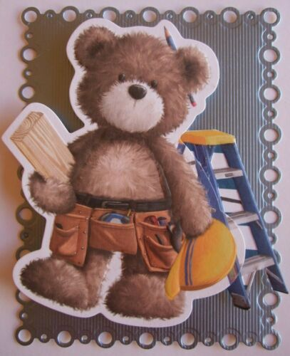 """1 Do-it-yourself Card Topper Cute Teddy 4/"""" x 5/"""" approx"""