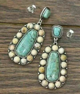 Vintage-Boho-Tibetan-925-Silver-Turquoise-Dangle-Hook-Earrings-Women-Jewelry