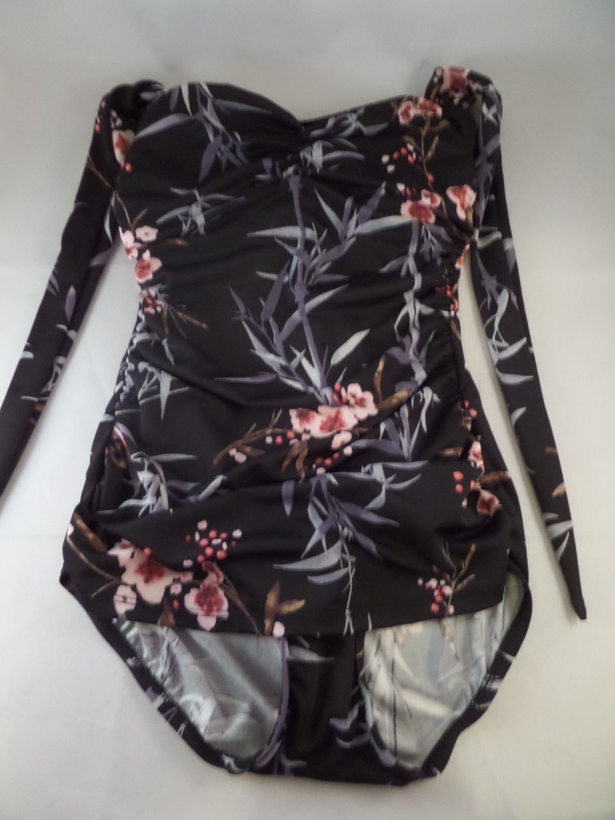NWT Esther Williams Bathing Beauty 1pc Swimsuit sz 4 Cherry Blossom Print Pin Up