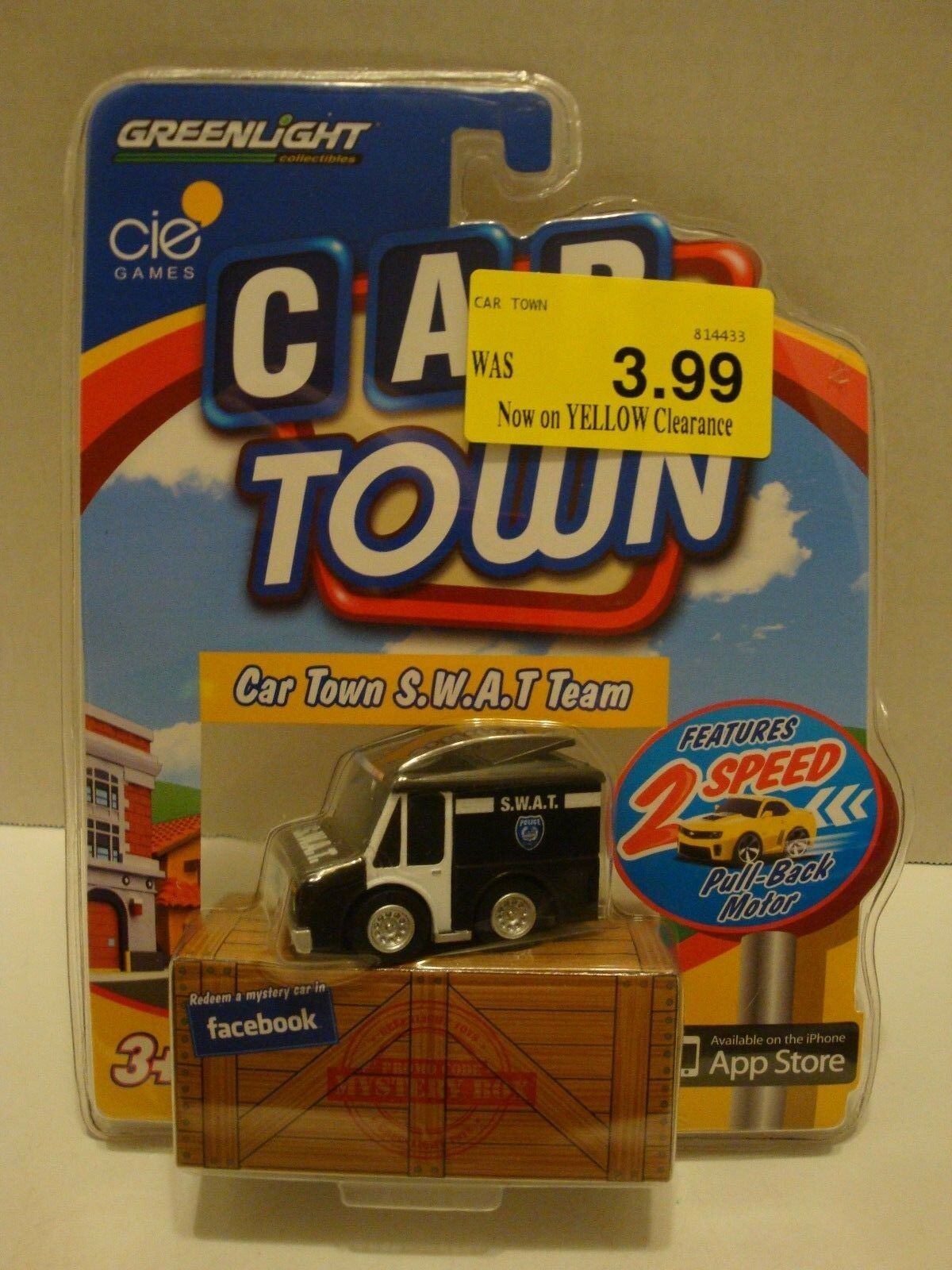 VAN  CAR TOWN SERIES ISSUE #2 GREENLIGHT ACTION TOY BLACK /& WHITE S.W.A.T