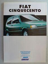 Prospekt Fiat Cinquecento / Cinquecento Suite, 1.1994, 8 Seiten, folder