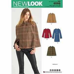 NEW LOOK SEWING PATTERN 6586 MISSES MILITARY STYLE COAT JACKET OR CAPE SIZE 8-20
