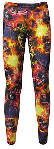Women-039-s-Gothic-Multi-Fire-Dragons-Alternative-Printed-Leggings-Goth-Punk-Emo