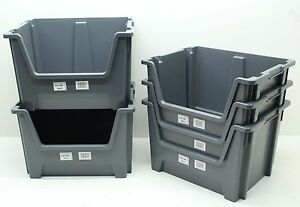 USED 5 x Heavy Duty Plastic Storage Box Boxes With Scooped Open