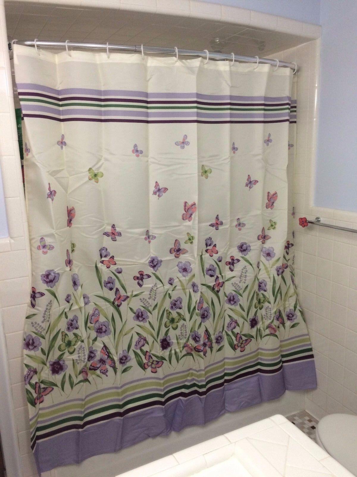 Botanical Butterfly Garden Lila Grun Floral Shower Curtain Bathroom Decor D41887
