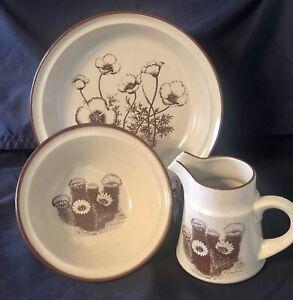 Noritake Japan Stoneware Desert Flowers Vegetable Bowl, Cereal Bowl, Creamer
