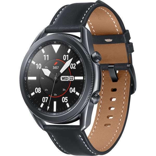 SAMSUNG Galaxy Watch 3 45 mm Bluetooth Smartwatch Echtleder Mystic Black Black