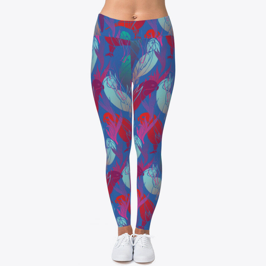 Abstract Parred bluee Women's Print Fitness Stretch Leggings Yoga Pants