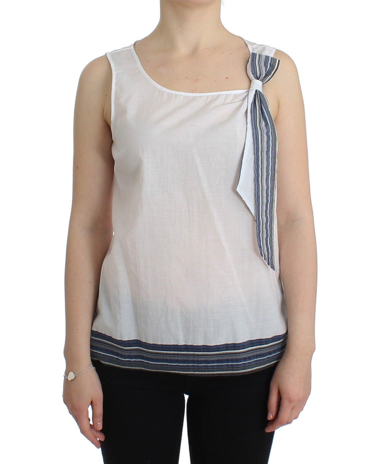 NWT Ermanno Scervino Weiß Blau Top Blouse Tank Shirt Sleeveless IT44 US10