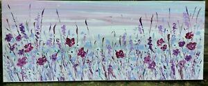 LARGE-MODERN-FLORAL-ART-CONTEMPORARY-ORIGINAL-ACRYLIC-PAINTING-100x40cm-canvas
