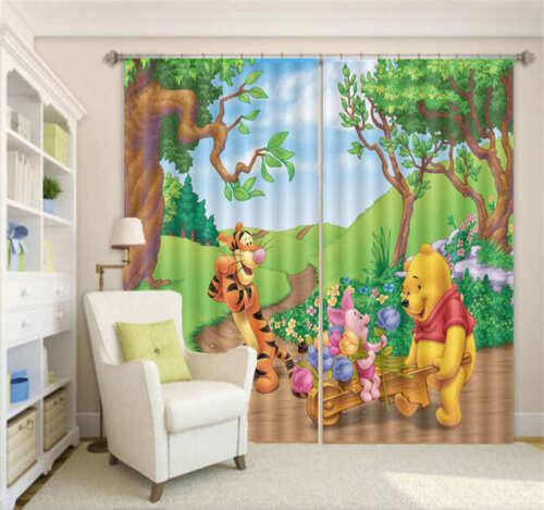 Winnie The Pooh 3D Curtain Blockout Photo Printing Curtains Drape Fabric