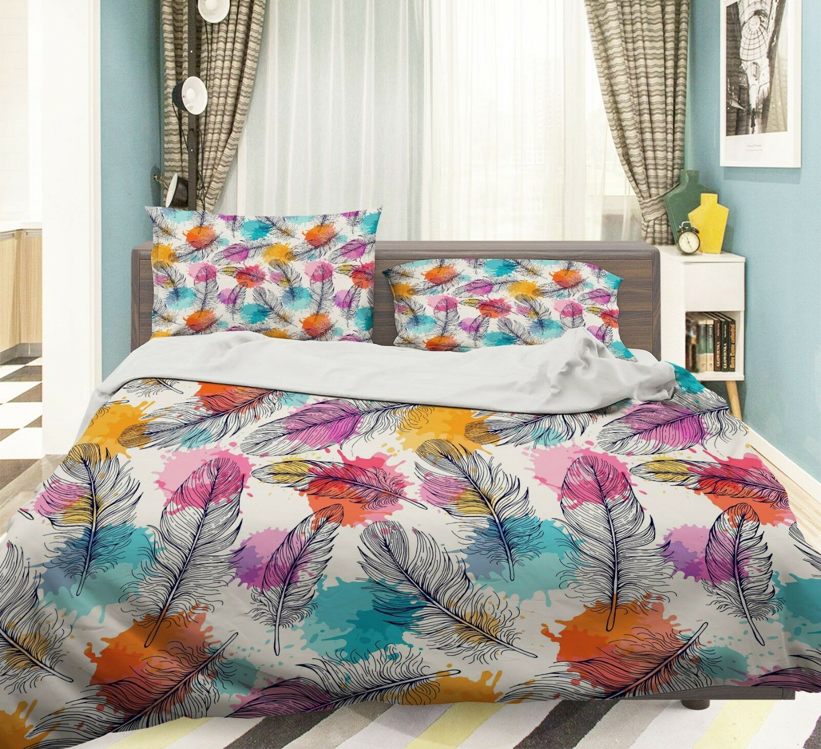 3D Painted Feathers6 Bed Pillowcases Quilt Duvet Cover Set Single Queen AU Carly