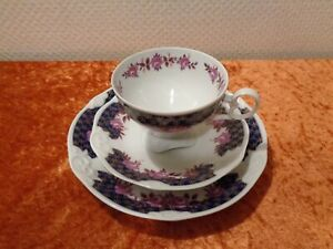 3-PC-Pmp-Porcelain-Collection-Cup-Collector-039-s-Place-Setting-Rose-Real-Cobalt
