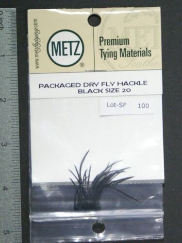 Metz//Umpqua NOIR TAILLE 20 génétique Dry Fly Rooster Hackle Pack NEUF