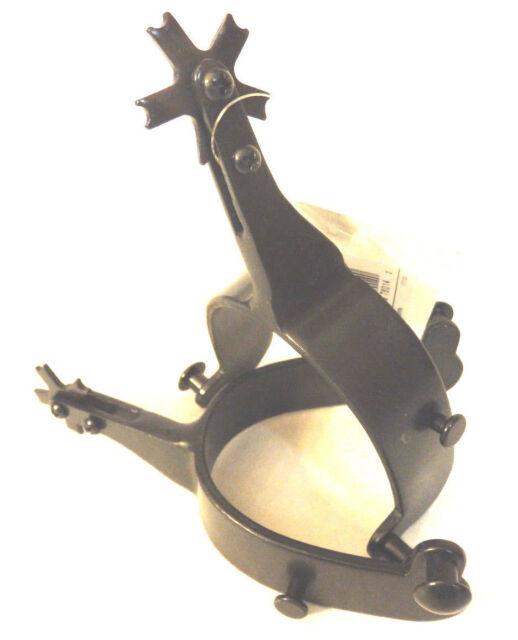 C 014 HILASON Black Steel Men Rodeo Spurs 30 Degree Offset for sale online