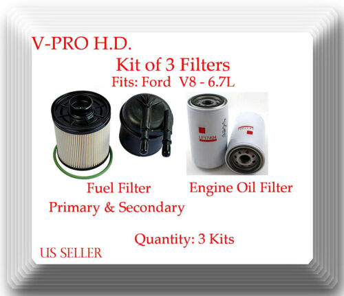 3 Kits Oil Filter and Primary /& Secondary Fuel Filters Ford V8 6.7L 9 Filters