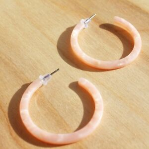 d0d7338a31c10 Details about Acrylic Fashion Statement Earrings Rose Pink Shell Acetate  Hoop Earrings Topshop