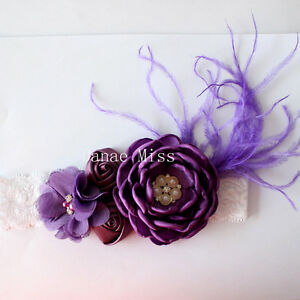 Satin-Chiffon-PURPLE-Flowers-Pearl-Centres-amp-Feather-HEADBAND-on-White-Lace