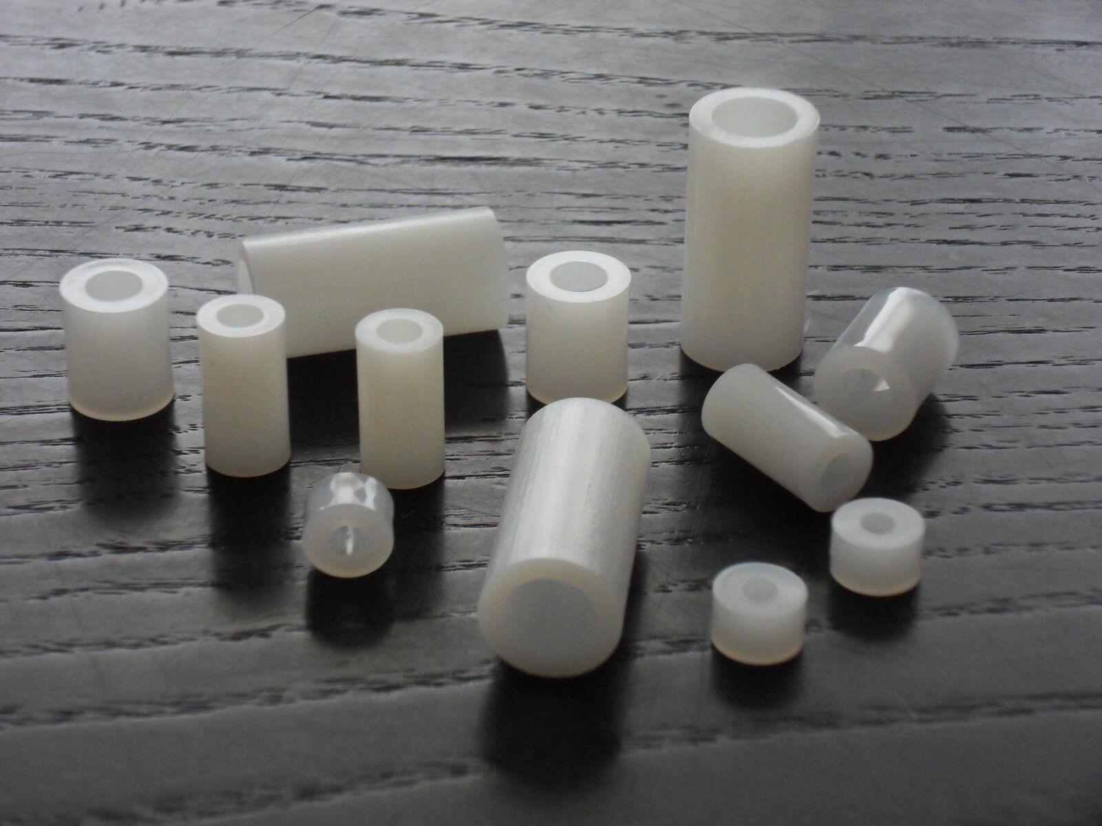 Distanzhülsen Abstandhalter   3,2mm Innen-Ø aus Kunststoff PA natur